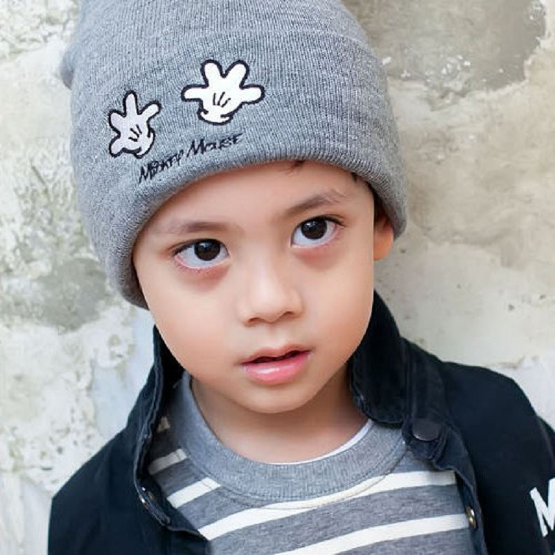 Moeble Lovely cartoon style Boys girls beanie hat Children knit cap Kids Wear beanie for autumn Cute Baby Hats 1pc H025 the new children s cubs hat qiu dong with cartoon animals knitting wool cap and pile