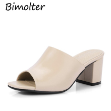 Bimolter Women Pumps Genuine Leather High Heels Open Toe Fashion Dress Mules Shoes Comfortable Summer New C018