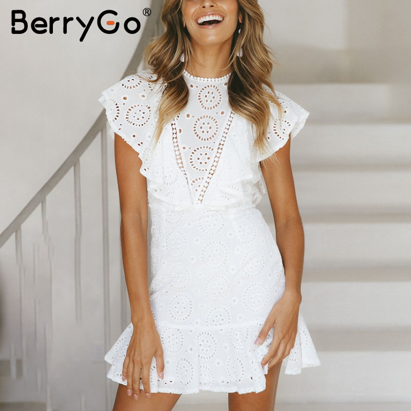 BerryGo Embroidery cotton white dress women Ruffle sleeve high waist short dress 2018 Keyhole back elegant dress female vestidos