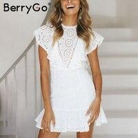 BerryGo Embroidery cotton white dress women Ruffle sleeve high waist short dress 2018 Casual cute elegant dress female vestidos