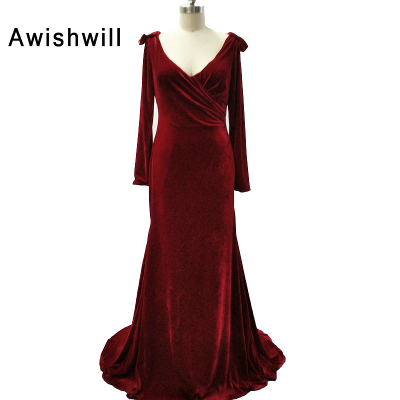 Robe de Soiree Longue Real Red Long Sleeve Velvet Evening Dresses 2017 Formal Evening Gowns Velour Made in China Vestido Longo