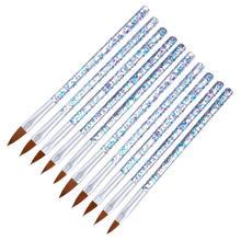 10Pcs/lot Nail Art Brush Set Copper Handle Design Polish Nylon UV Gel Painting Nail Brushes ink wash painting handle cosmetic brush set 10pcs