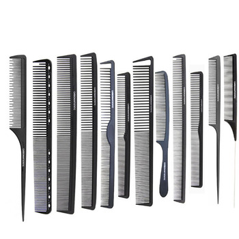 12 Style Black Hairdressing Comb Anti-static Hair Cutting Combs Detangle Straight Hair Pro Salon Barber Styling Tool