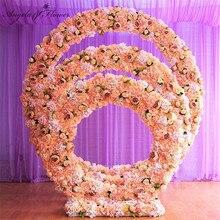 1,2 m/1,5 m/2m/2,4 m hochzeit prop eisen ring regal künstliche blume wand stehen tür hochzeit hintergrund decor eisen arch eisen stehen