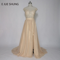 E JUE SHUNG Champagne Rendas Apliques Baratos Vestidos de Noite Longos Mangas Side Slit Formais Vestidos de Noite Vestidos