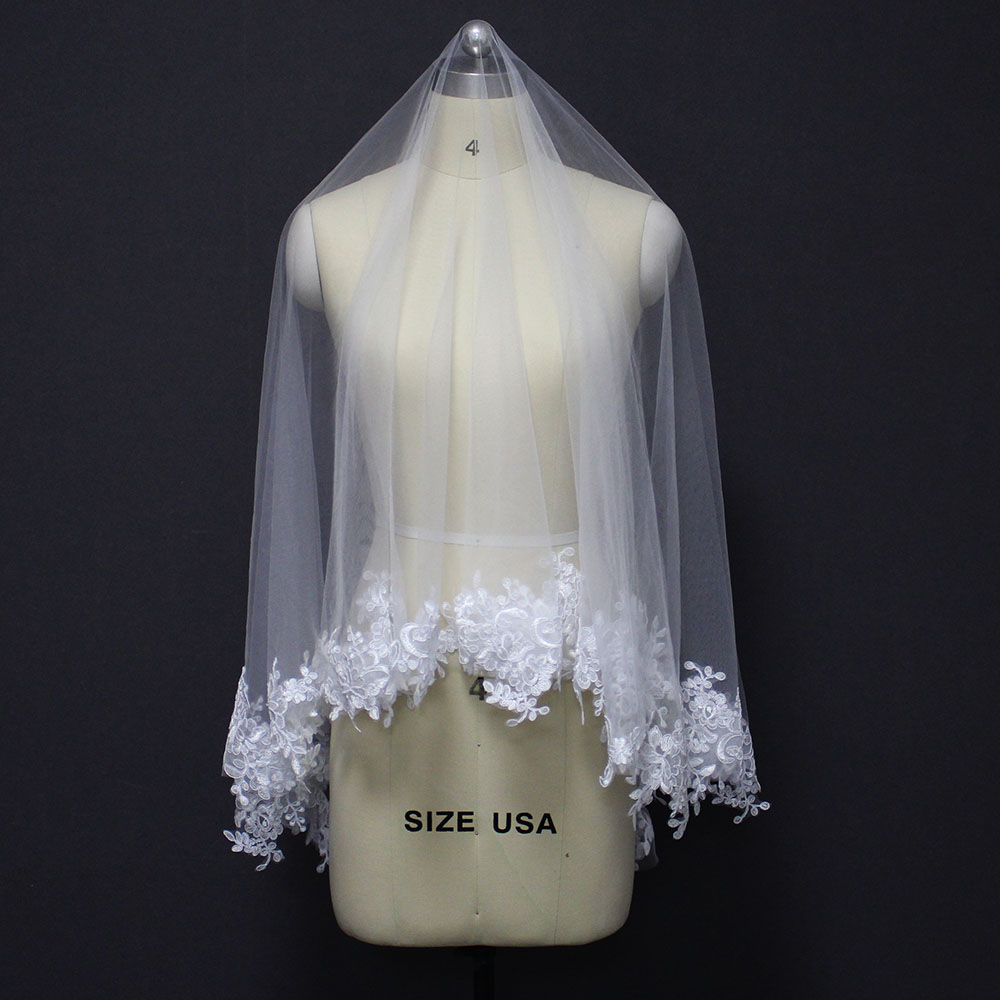 New Arrival Lace Appliques Short Wedding Veil WITHOUT Comb Cover Face One Layer Bridal Veil Wedding Accessories for Bride