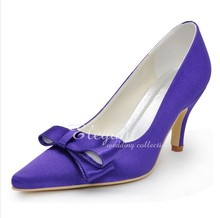 2016 Purple Color Elegant Pointed Toe Wedding Dress Shoes Satin Bridal Dress Shoes Party Lady Woman Shoes Formal Shoes
