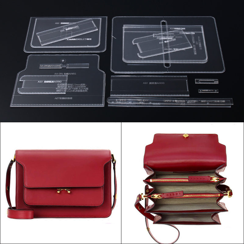 1set DIY Leather Handmade Craft Women Handbag Shoulder Bag Sewing Pattern Acrylic Stencil Template 23*16*12cm