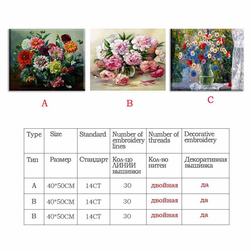 Meian наборы вышивки крестиком 14CT Красочные цветы хлопок нить живопись DIY рукоделие DMC новый год домашний декор VS-0136