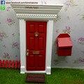 Hot 1/12 Масштаб Миниатюрный Деревянный Зубная Фея Двери и Letter Box Бесплатная Доставка