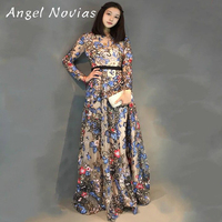 Long Sleeve Sequin Embroidery Muslim Dubai Arabic Evening Dress 2017 Women Party Evening Gowns Angel Novias