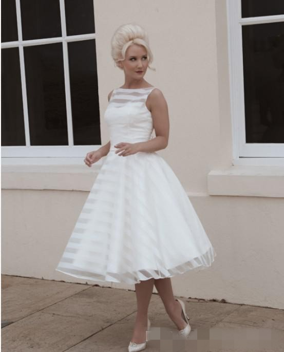 low price stripe women short wedding dress 2016 mid calf summer beach bridal gowns organza robe de mariage zipper back