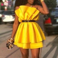 Hot Fashion Sexy Mini Cocktail Dresses Real Dress Photo Yellow Homecoming Graduation Dress DQG955