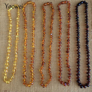 Image 1 - Yoowei Wholesale Natural Baltic Amber Necklace for Baby Adult 100% Real Irregular Baroque Amber Original Amber Baby Chip Jewelry