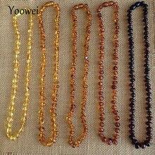 Yoowei collier pour bébé et adulte, en ambre naturel, bijoux en copeaux originaux, Baroque irrégulier 100%, vente en gros