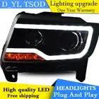D YL Auto Styling voor Jeep Compass Koplampen 2011 2015 Kompas LED Koplamp DRL Lens Dubbele Beam H7 HID Xenon bi xenon lens