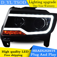D_YL Car Styling for Jeep Compass Headlights 2011 2015 Compass LED Headlight DRL Lens Double Beam H7 HID Xenon bi xenon lens
