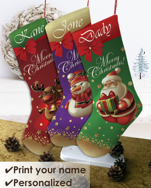 Us 18 9 Personalized Christmas Stockings Double Sided Print Your Name Unique Festivial Gift 3 Designs To Choose Shiny Custom Decor In Christmas