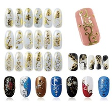 Beauty Gril DIY Decoration Tools 108Pcs 3D Silver/Gold Nail Art Stickers Decals Stamping Sep 12