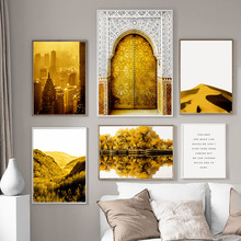 Golden East Gate New York Lake Wall Art Canvas Painting Nordic Posters And Prints Salon Decoration Pictures For Living Room