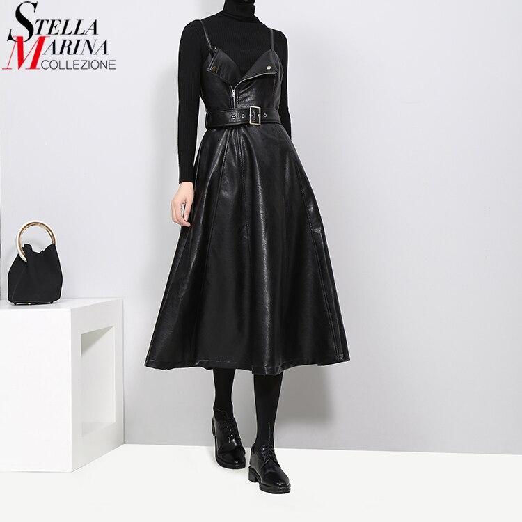Новый 2018 осень-зима Для женщин Искусственная кожа Платье черного цвета ремень линии Спагетти ремень рукавов Вечеринка Клубные платья 3014