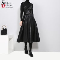 2017 Winter Women Faux Leather Black Dress With Belt A Line Spaghetti Strap Sleeveless Female Evening