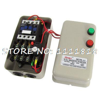 2.2-5.5A 1.5KW 2HP 110V Coil Three Phase Motor Control Magnetic Starter 3Poles chint electromagnetism starter magnetic force starter qc36 10t motor starter phase protect magnetic force switch