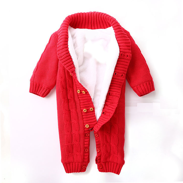 100% Cotton Winter Newborn Baby Rompers Plus Velvet Warm Baby Girls Costume  Baby Boys Outfits Infant Clothing Baby Clothes - Newborn Baby Boy Winter Clothes Promotion-Shop For Promotional