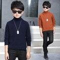 Мода Baby Boy Свитера Водолазка Сплошной Цвет Ребенок Трикотажные Одежда Высокого Качества Хлопка Весна Зимой Дети Свитер Топ