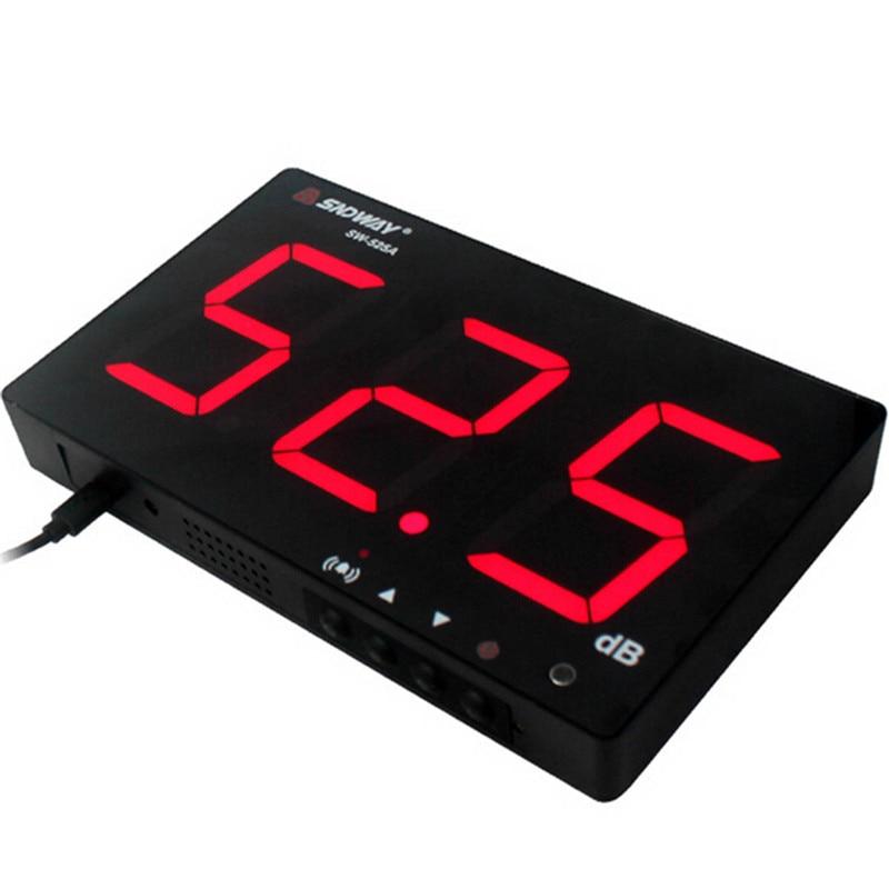 SNDWAY 30 ~ 130db medidor de nível de Som Digital tela grande tipo de suspensão de medição do medidor de ruído db Decibel Noise Monitoramento Testers