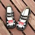 Большой: 34-44 Марка Ангельский отпечаток 2016 ЛОЛИТА PUNK череп боути принцесса сладкий Косплей каблуки девушки черный девушка пряжки женская обувь