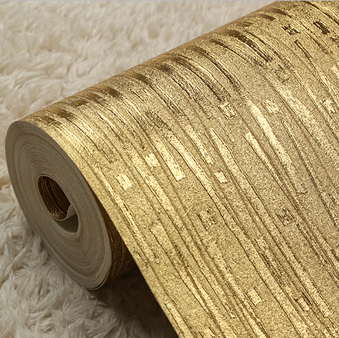 Modern luxury solid gold wallpaper pvc waterproof for Wallpaper home improvement questions