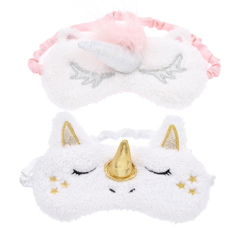 Mayitr 2 Colors Cartoon Eye Mask Cute Plush EyeShade Cover Blinder Sleeping Mask For Home Travel 17.7 x 9.5cm