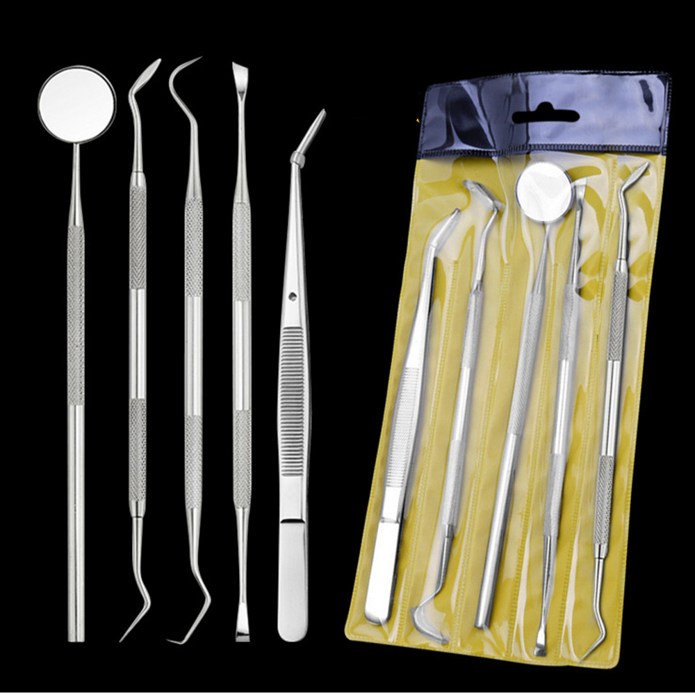 AMSIC 5PCS Dental Mirror Stainless Steel Dental Tool Set Mouth Mirror Dental Kit Instrument Dental Pick Dentist Prepare Tool(China)