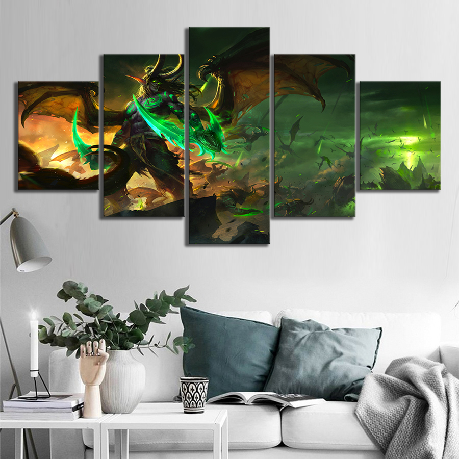 5 Piece Illidan Stormrage World of Warcraft Game Poster Drawing Art HD Canvas Paintings Wall Art for Home Decor 2