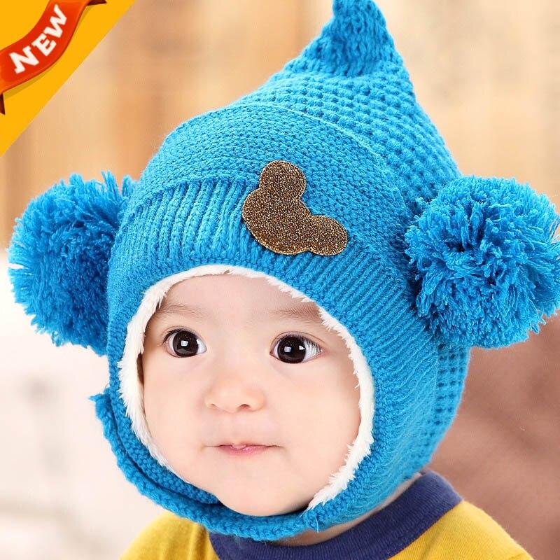 Winter Hooded Scarf Earflap Knit Cap Knitting Baby Hats Winter Girl Boy Caps  Lovely Kids Woolen Newborn Hat bonnet Enfant C884-in Hats   Caps from  Mother ... fb3eae2b922