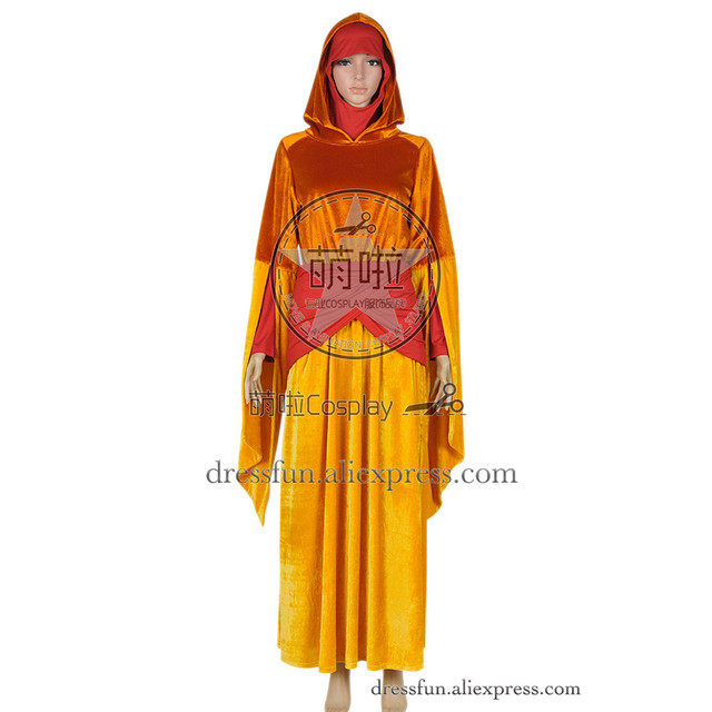 Star Wars The Phantom Menace Cosplay Padme Amidala Costume Orange ...