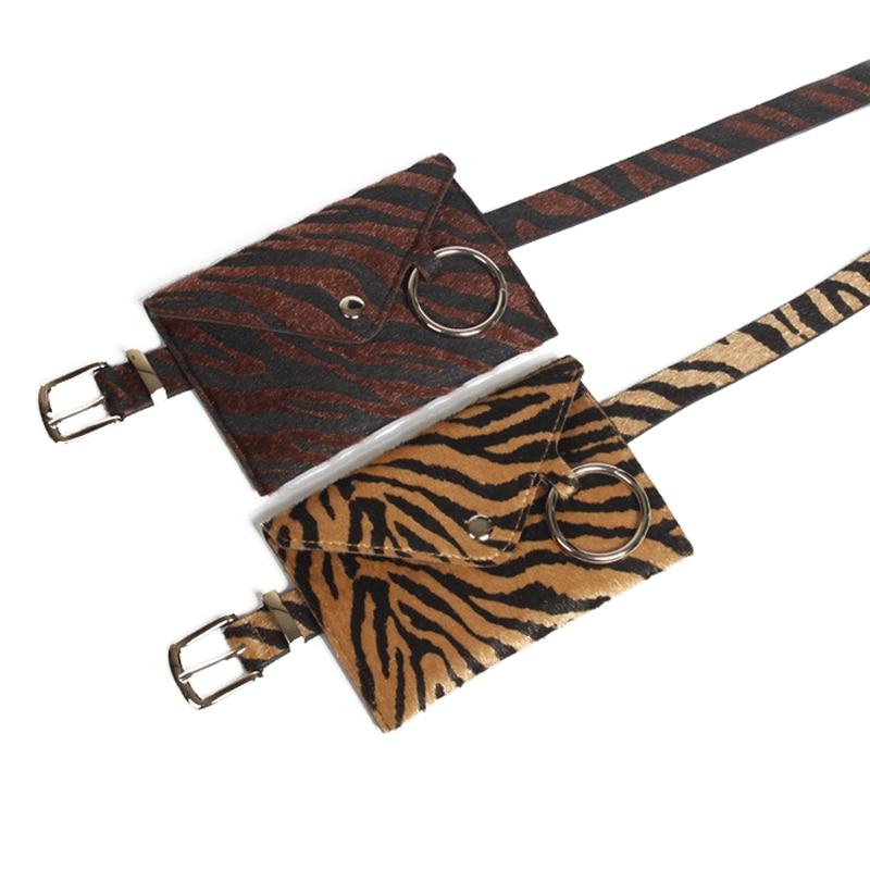 12PCS LOT Winter Women Waist Bag Leopard Waist Packs Fashion Fanny Pack Female PU Leather Belt Bag Detachable Belt in Waist Packs from Luggage Bags