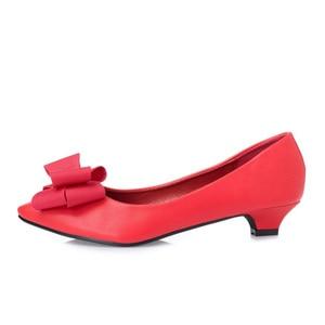 Image 2 - BEYARNE Neue mode Büro Dame niedrigen heels arbeit Schuhe frau pumpen Frauen herbst frühling arbeit Schuhe pointedtoe bowtie35 41yellowE495