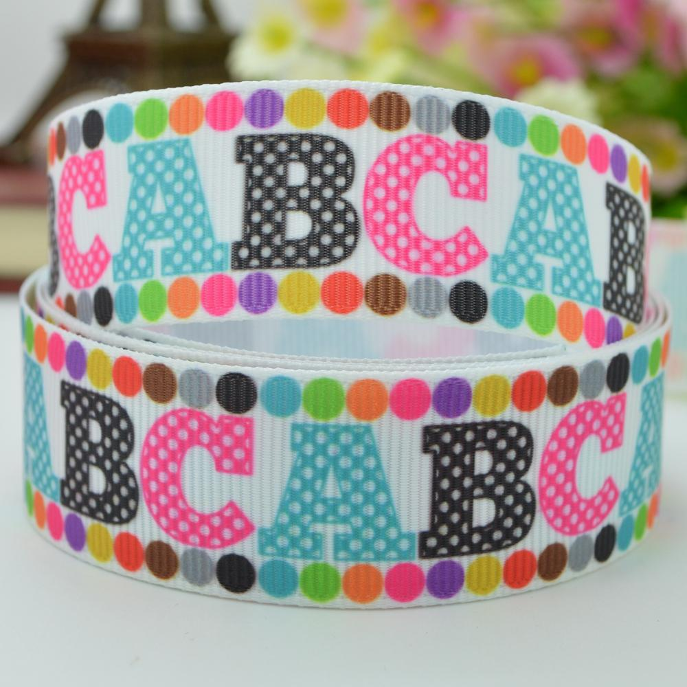 Cartoon alphabet ABC ribbed with hair accessories bow materials 22mm print grosgrain ribbon 7/8 children accessories selling