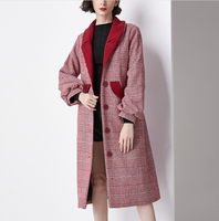 Wool Coat Red Winter Autumn 2018 Female Plaid Single Breasted Wool Thick Warm Long Outwear Overcoats Jacket Coats Cashmere Lady