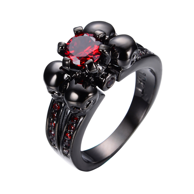 Skull Ring Anel For Women Men Fashion Stone Jewelry Red Cz Engagement Band Black