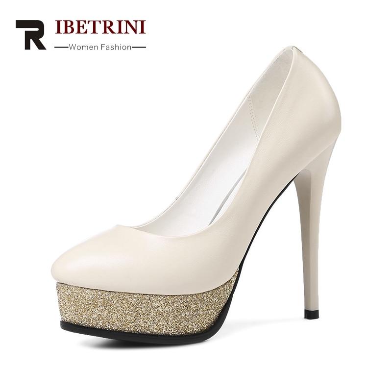RIBETRINI 2018 spomladi jeseni elegantno pristno usnje ženske - Ženski čevlji