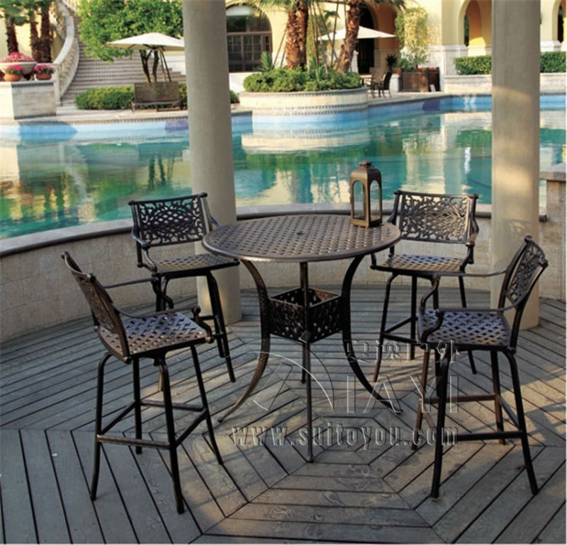 5 piece bar table and chair cast aluminum garden furniture for Outdoor furniture 5 piece
