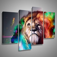 Oil Paintings Canvas Cheap Abstract Lion Colorful Animals Wall Art Home Decor Pictures Wall Pictures For Living Room Unframed