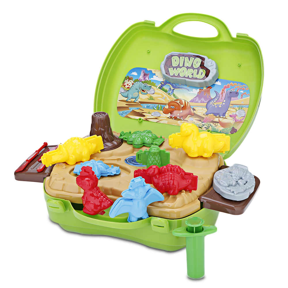 BOWA Suitcase Toy Kids Play Dough - Dinosaur Develop Intelligence Portable Case Keeps Everything In One Place Toys