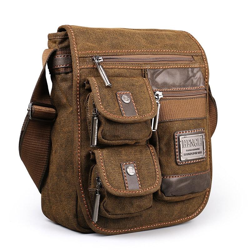 2018 Ruil Retro retro กระเป๋าสะพายผ้าใบ Multifunction Man Leisure Tooling Messenger แพคเกจ Retro กระเป๋าถือ-ใน กระเป๋าสะพายข้าง จาก สัมภาระและกระเป๋า บน   1