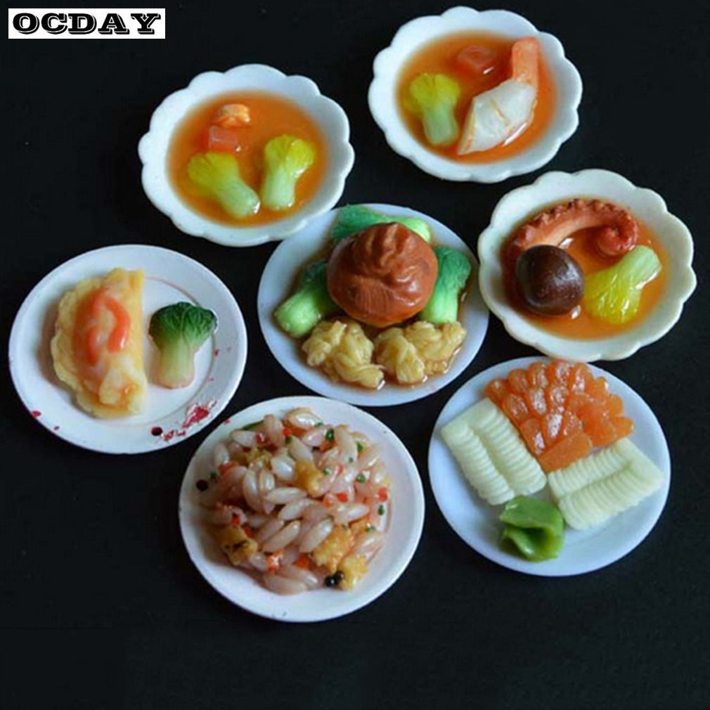 DIY 33pcs//set Environmental Plastic Doll Kitchen Dinner Mini Tableware  AD