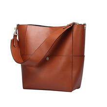 купить Genuine Leather Women Shoulder Bags Bucket Composite Female Handbag Solid Causal Lady Tote Bag Brand Designer дешево