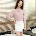 Stand collar chiffon shirt female three quarter sleeve 2017 all-match casual top slim small fresh pink shirt